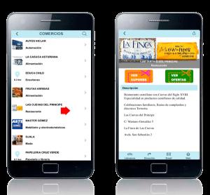 Comercios app móvil Naval Ahorro. Zoom Digital