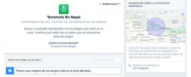 Facebook y Google herramientas para localizar a heridos en el terremoto de Nepal