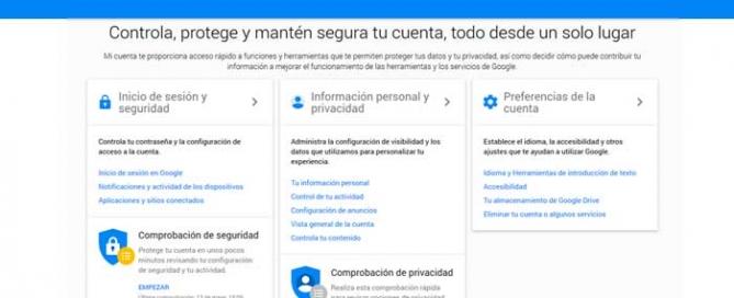Protege tu información en Google Mi Cuenta