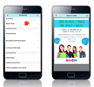 Listado de ofertas de la app móvil Naval Ahorro. Zoom Digital